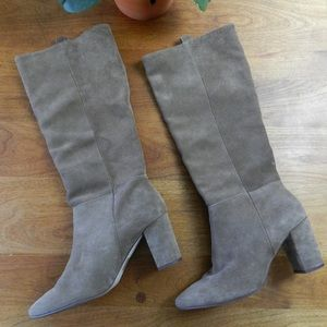 J. Crew Tan Suede Pull On Knee Boots Size 8.5